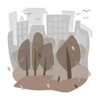 Vector image with city - houses and trees in autumn