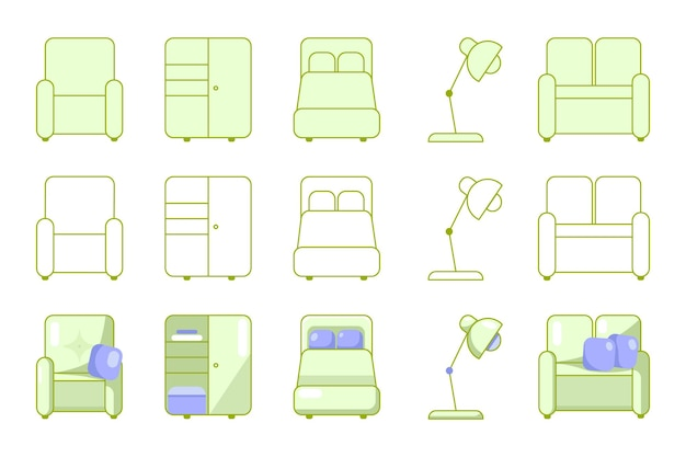 Vector images of home furniture icons drawn by hand