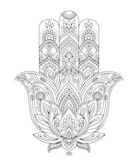 Vector indian hand drawn hamsa with ethnic ornaments for adult coloring book