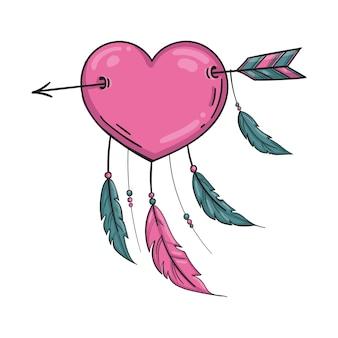 Вектор индийское розовое сердце со стрелкой и орнаментом. изолированные на белом фоне.