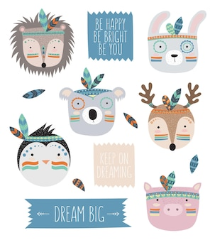 Vector indian tribal animals faces with motivational slogan doodle illustration friendship day