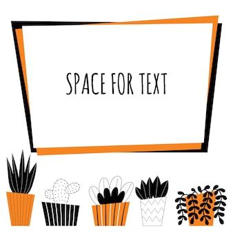 벡터 실내 식물입니다. 가정 장식, 원예, 화분에 심은 꽃. 방 장식. 흰색 배경에 양식에 일치시키는 디자인 그림입니다. 텍스트를 위한 공간입니다.