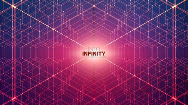 Vector infinite hexagonal space background. matrix of glowing stars with illusion of depth, perspective. geometric backdrop with point array as honeycomb. abstract futuristic universe.