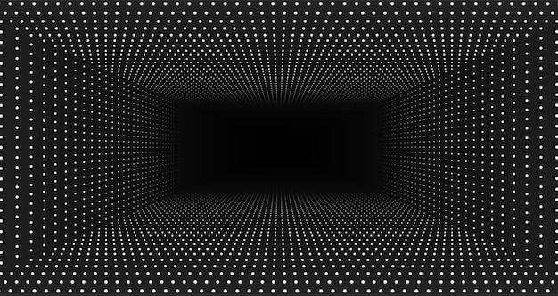 Вектор бесконечный прямоугольный туннель сияющих вспышек на монохромном фоне. светящиеся точки образуют туннель. абстрактный красочный фон кибер. элегантные современные геометрические обои. сияющие точки