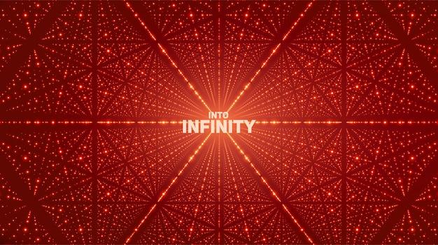 ベクトル無限空間の背景。深さ、遠近法の幻想を持つ輝く星。格子としてポイント配列を持つ幾何学的な背景。