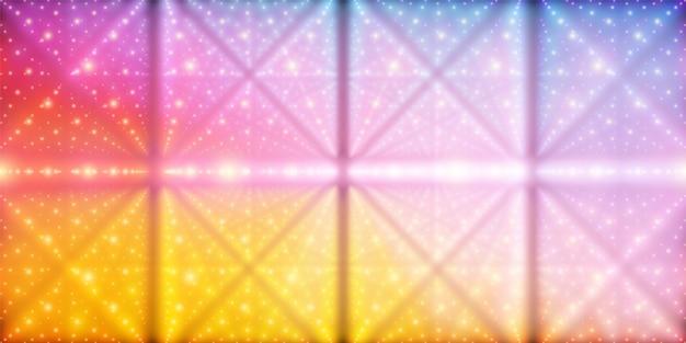 無限の空間のベクトルの背景。奥行きと遠近感の錯覚を伴う輝く星の行列。ポイント配列をラティスノードとして持つ幾何学的背景。抽象的な未来的なカラフルな宇宙の背景