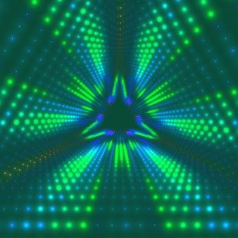 Вектор бесконечный треугольный туннель сияющих вспышек на фоне. светящиеся точки образуют туннельные секторы.