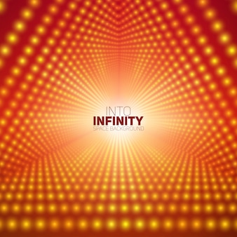 Vector infinite triangular tunnel of shining flares on red background.