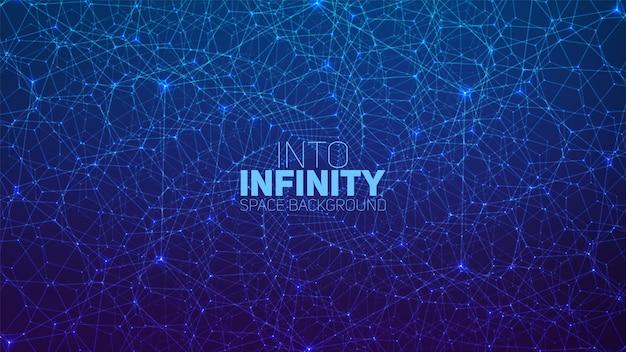 Vector infinito spazio esagonale contorto sfondomatrice di stelle incandescenti con illusione di profondità