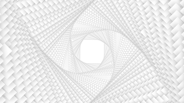 Vector infinite twisted rhombic or square white tunnel of squares with soft shadow