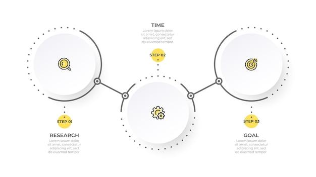 アイコンと3つのオプションでベクトル情報グラフィック要素のデザイン