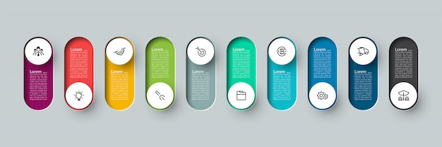 Vector infographic 3d long circle label, infographic with number 10 options processes.