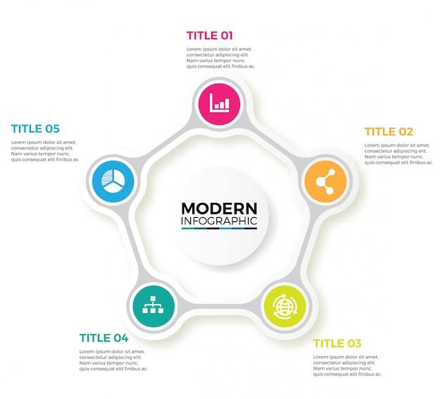 Vector infographicラベルデザイン、円と5つのオプションまたはステップ。