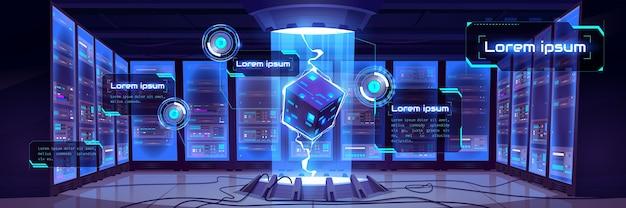 서버 하드웨어 및 프로세서 홀로그램이있는 미래의 데이터 센터 룸의 만화 내부와 벡터 인포 그래픽 배경. 빅 데이터 기술 개념, 클라우드 정보 기반