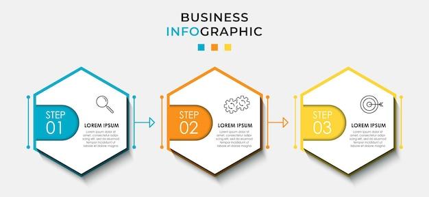 벡터 인포그래픽 디자인 비즈니스 템플릿에는 아이콘과 3가지 옵션 또는 단계가 있습니다. 프로세스 다이어그램, 프레젠테이션, 워크플로 레이아웃, 배너, 순서도, 정보 그래프에 사용할 수 있습니다.