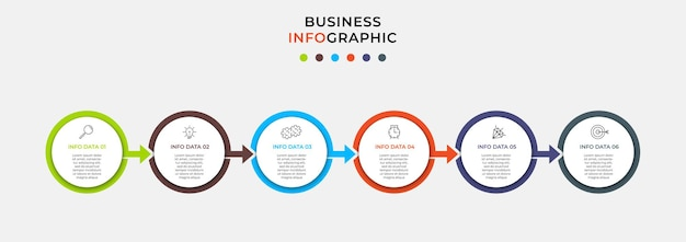 Шаблон дела дизайна infographic вектора с значками и 6 вариантами или шагами. может использоваться для схемы процесса, презентаций, макета рабочего процесса, баннера, блок-схемы, информационного графика