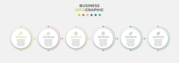 アイコンと6つのオプションまたはステップを持つベクトルインフォグラフィックデザインビジネステンプレート。プロセス図、プレゼンテーション、ワークフローレイアウト、バナー、フローチャート、情報グラフに使用できます