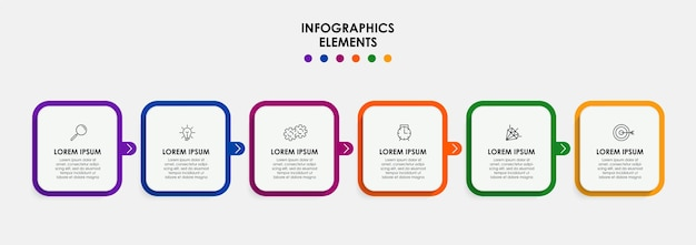 Вектор инфографики дизайн бизнес-шаблон со значками и 6 вариантами или шагами