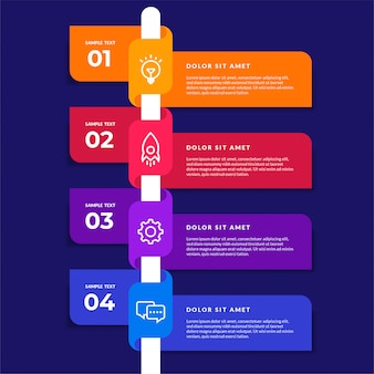 벡터 infographic 디자인 요소입니다. 옵션 번호 워크 플로우 인포 그래픽 디자인