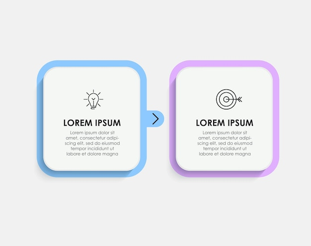 Vector infographic design illustration business template with icons and 2 options or steps. can be used for process diagram, presentations, workflow layout, banner, flow chart, info graph