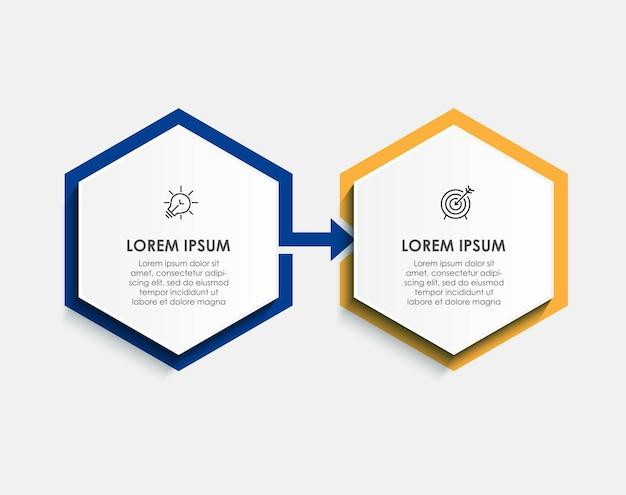 벡터 인포그래픽 디자인 일러스트레이션 비즈니스 템플릿에는 아이콘과 2가지 옵션 또는 단계가 있습니다. 프로세스 다이어그램, 프레젠테이션, 워크플로 레이아웃, 배너, 순서도, 정보 그래프에 사용할 수 있습니다.