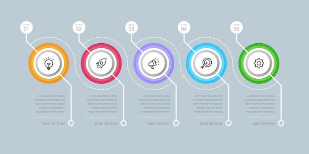 Vector infographic design template with 6 steps workflow