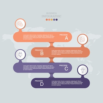 Vector infographic design template with four options or steps.