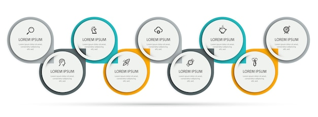 아이콘 및 9 옵션 또는 단계가있는 벡터 인포 그래픽 디자인 템플릿