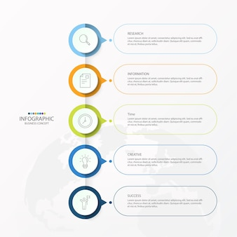 Vector infographic design template with thin line icons and 5 options, process or steps.