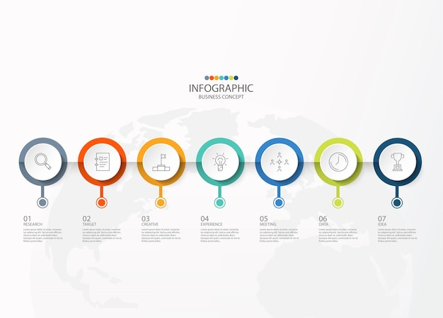 Vector infographic design template with thin line icons and 7 options, process or steps.