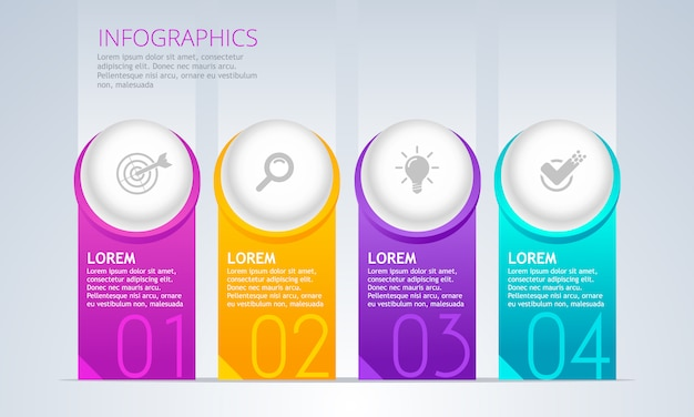 Vector infographic element. timeline with 4 steps.