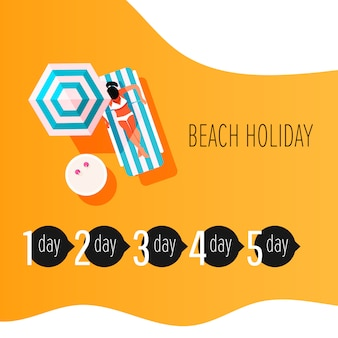 Vector infographic elements of time to sunbathe. sunburn treatment infographic. girl with sunburn skin.