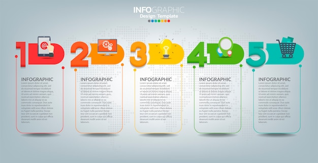 Vector infographic label template with icons and 5 options or steps.