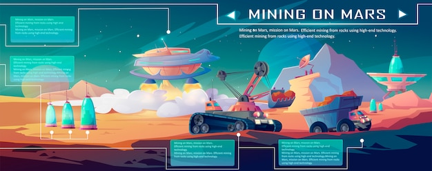 Vector infographic of space mining on mars