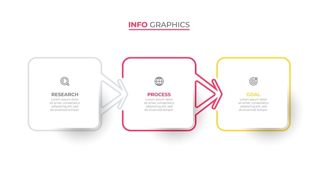 Vector infographic template label design with arrows and icons business concept with 3 steps