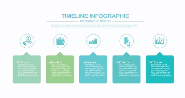 ベクトルインフォグラフィックテンプレートストックイラストインフォグラフィックタイムラインビジュアルエイド5つのオブジェクト Premiumベクター