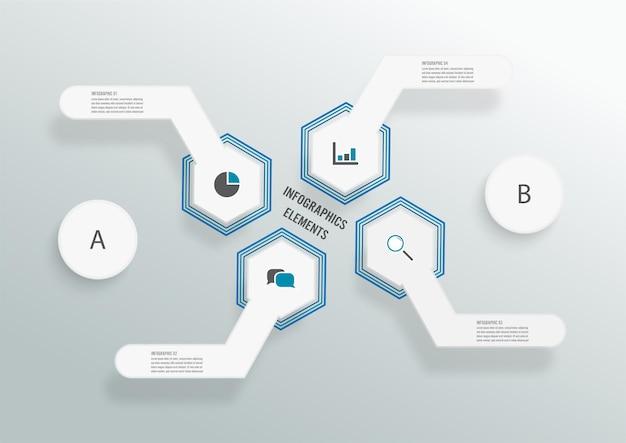 3d紙ラベル、統合された円とベクトルインフォグラフィックテンプレート。 4つのオプションを持つビジネスコンセプト。コンテンツ、図、フローチャート、ステップ、パーツ、タイムラインインフォグラフィック、ワークフロー、チャート。