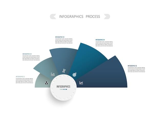 3d紙ラベル、統合された円とベクトルインフォグラフィックテンプレート。ビジネスプロジェクトの5つのステップを持つビジネスコンセプト。コンテンツ、図、フローチャート、ステップ、パーツ、タイムラインのインフォグラフィック。
