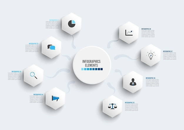 3d紙ラベル、統合された円とベクトルインフォグラフィックテンプレート。 8つのオプションを持つビジネスコンセプト。コンテンツ、図、フローチャート、ステップ、パーツ、タイムラインインフォグラフィック、ワークフロー、チャート。