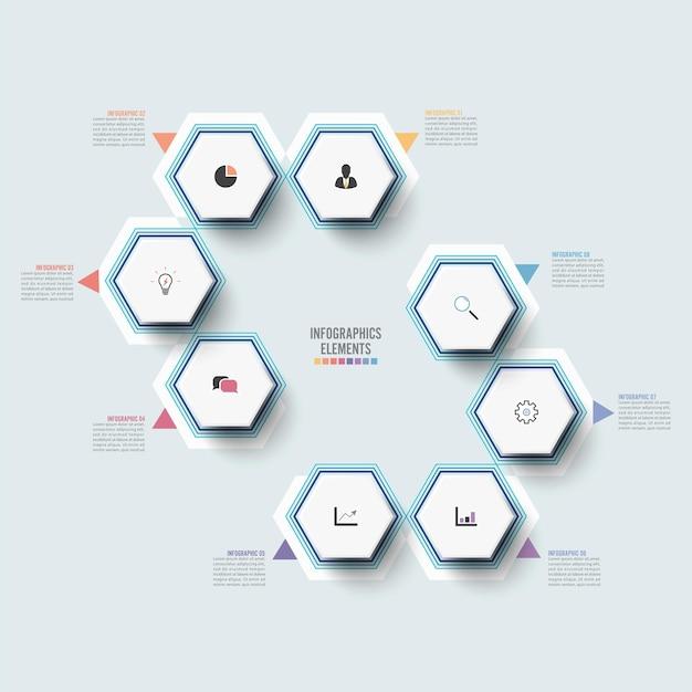 3d紙ラベル統合サークルとベクトルインフォグラフィックテンプレート8つのオプションを持つビジネスコンセプト