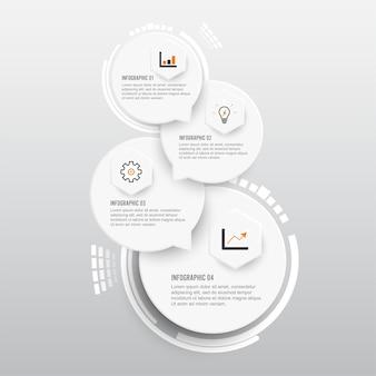 Векторный инфографический шаблон с трехмерной бумажной этикеткой.