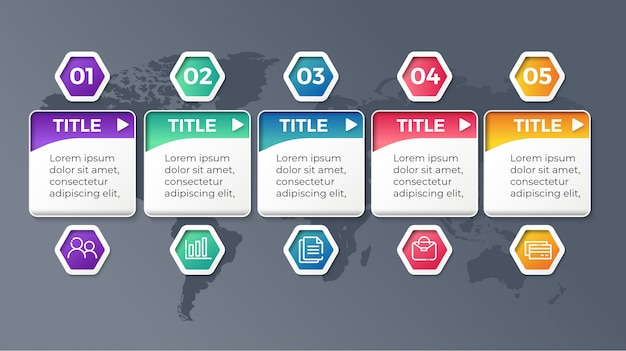 Vector infographic template with five options