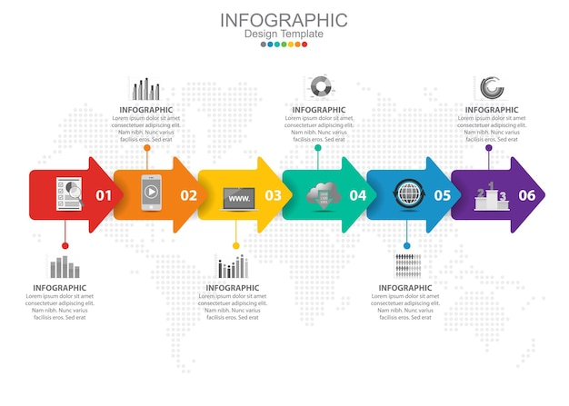 Vector infographic template with six options and icons.
