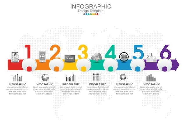 Vector infographic template with six options and icons. Premium Vector