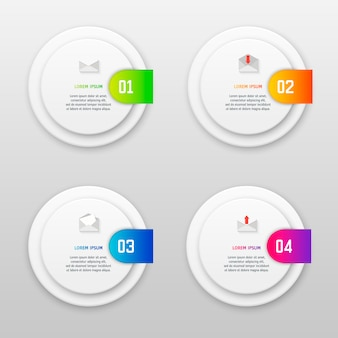 Vector infographics template with four options in material design style.