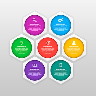 Vector infographics template with six options in material design style.