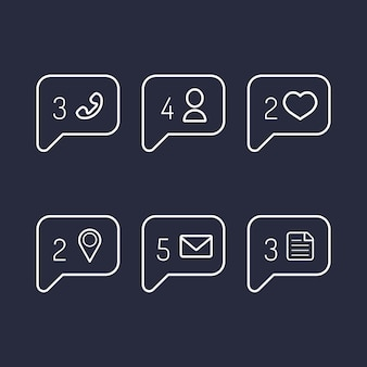 Vector information and notification icons in flat style.