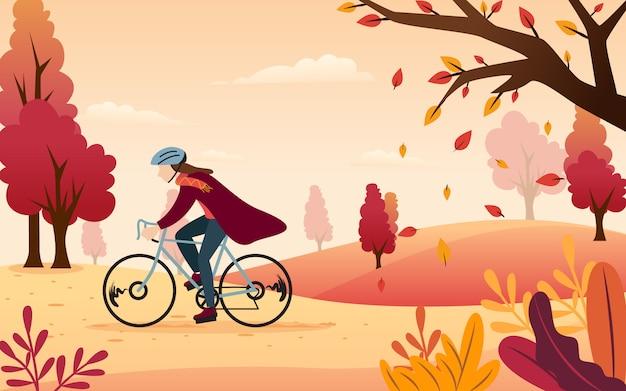 바람과 함께 공원 주변에서 자전거를 타면서 쾌적한 가을을 즐기는 것에 대한 평면 디자인을위한 벡터 영감.