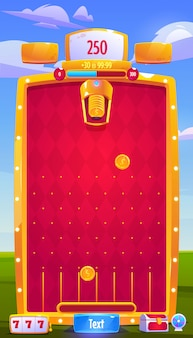 Vector interface of mobile arcade game with coins