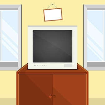 Vector interior with tv, windows and tv table. vector illustration in flat style.
